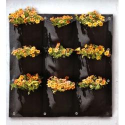 Wiszący ogród - kieszeń kwiatowa 9 komór - czarna