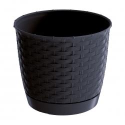 Doniczka okrągła + podstawka Ratolla - 14,5 cm - antracyt
