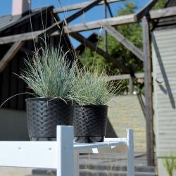 Kerek virágcserép csészealjjal - Ratolla - 14,5 cm - Antracit -