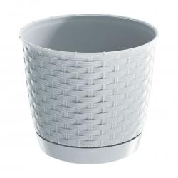 Doniczka okrągła + podstawka Ratolla - 14,5 cm - biała