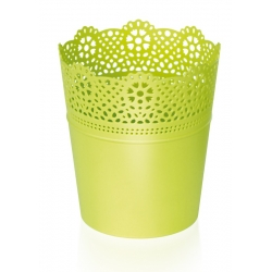 Round flower pot with lace - 13,5 cm - Lace - Lime