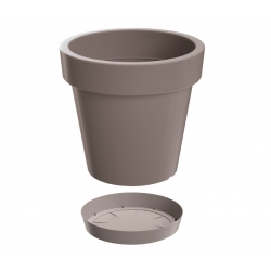 """Lofly"" round lightweight plant pot with a saucer - 20 cm - stone-grey"
