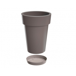 """Lofly Slim"" round lightweight tall plant pot with a saucer - 20 cm - stone-grey"