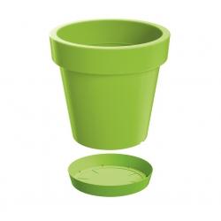 "Maceta redonda liviana ""Lofly"" con platillo - 20 cm - verde lima -"