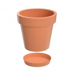 """""""Lofly"""" okrúhly ľahký kvetináč s podšálkom - 20 cm - terakotovej farby -"""
