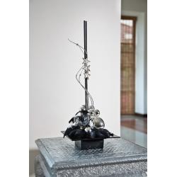 Square flower pot - composition basis - Ikebana - 19 cm - Black