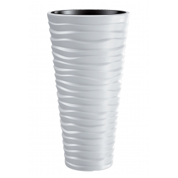 Maceta redonda, alta - Sand Slim - 29,5 cm - Blanco -