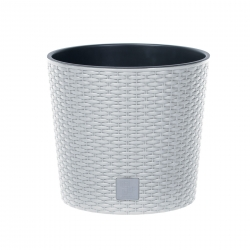 Round flower pot with an insert - Rato - 25 cm - White