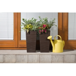 """""""Finezja"""" square tall planter with an insert - 19 cm - chiselled, mocha-brown"""