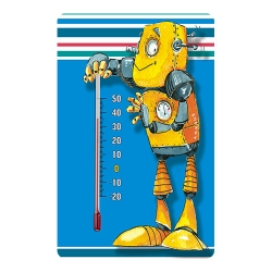 Indoor self-adhesive thermometer for nurseries - with robot graphic