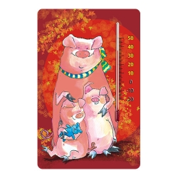 Indoor self-adhesive thermometer for nurseries - with piggy graphic