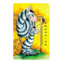 Indoor self-adhesive thermometer for nurseries - with zebra graphic
