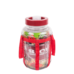 Tégely / karosszéria hordszíjakkal és műanyag fedéllel - borhoz, likőrökhöz és tartósítószerekhez - 5 liter -