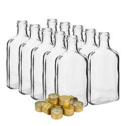 """مجموعه بطری های لیوان """"فلاسک لگن"""" با کپسول های پیش نخ شده - 200 میلی لیتر - 10 عدد -"""