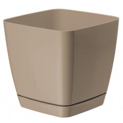 "Pot tanaman persegi ""Toscana"" dengan piring - 13 cm - kuning air (cafe latte) -"