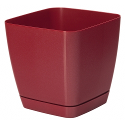 """""""Toscana"""" square plant pot with a saucer - 25 cm - metallic red"""