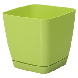 """Toscana"" square plant pot with a saucer - 25 cm - light green"