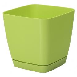 """Chậu cây vuông """"Toscana"""" với một chiếc đĩa - 13 cm - màu xanh nhạt -"""
