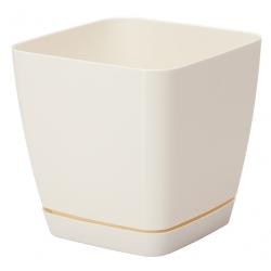 """Chậu cây vuông """"Toscana"""" với một chiếc đĩa - 11 cm - màu trắng kem -"""
