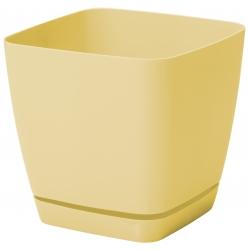 """Chậu cây vuông """"Toscana"""" với một chiếc đĩa - 11 cm - màu vàng pastel -"""