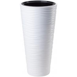 """Sahara slim"" frost resistant round tall plant pot - 30 cm - white"