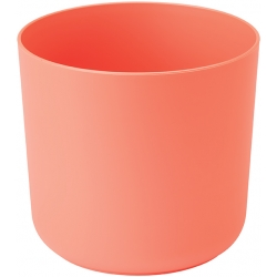 """Aruba"" round pot casing - 13 cm - cantaloupe-orange"