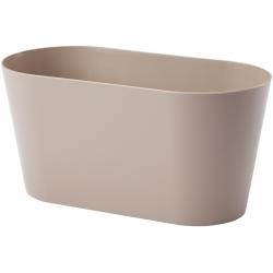 """Jardinera ovalada """"Vulcano"""" - 23 cm - beige (café con leche) -"""