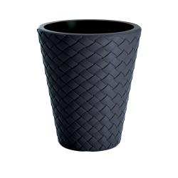 "Round ""Matuba"" tall plant pot - lightweight and ornamental - 30 cm - anthracite-grey"