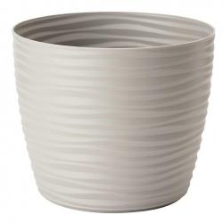 """Sahara petit"" round plant pot casing - 13 cm - light grey"