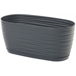 """Sahara petit"" long plant pot with a tray - 27 x 13 cm - anthracite-grey"