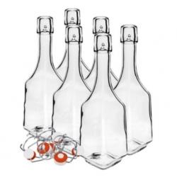 مجموعه بطری هایی که دارای قفل حلزونی ثابت برای لیکور ، آب میوه و شربت 500 میلی لیتر - 6 عدد -