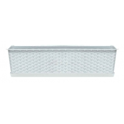 "Caja balcón ""Ratolla"" con bandeja + soporte - 39 cm - blanco -"
