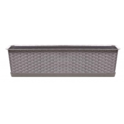 """Ratolla"" balcony box with a tray + holder - 49 cm - mocha-brown"