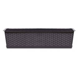 """Caja de balcón """"Ratolla"""" con bandeja - 69 cm - ámbar, marrón oscuro -"""