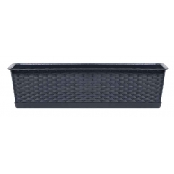 """""""Ratolla"""" balcony box with a tray + holder - 39 cm - anthracite-grey"""