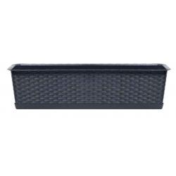 """Caja balcón """"Ratolla"""" con bandeja - 69 cm - gris antracita -"""