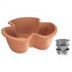 """Respana Trio"" triple-pot 35 cm herb planter - set of 3 pieces - terracotta-coloured"