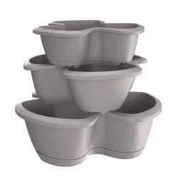 """Respana Trio"" triple-pot herb planters - 35 + 40 + 47 cm - set of 3 pieces - stone-grey"