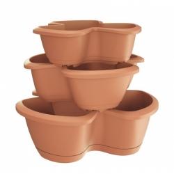 """Respana Trio"" triple-pot herb planters - 35 + 40 + 47 cm - set of 3 pieces - terracotta-coloured"