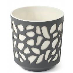 """""""Duet"""" dvojfarebný kryt kvetináčov - 19,5 cm - antracitovo-šedá / krémovo-biela -"""
