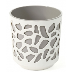 "Caja de maceta bicolor ""Duet"" - 19.5 cm - blanco cremoso / gris -"