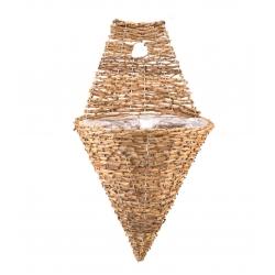 Wickerwork cone-shaped wall-mounted hanging flower basket - 30 cm - model FL5379