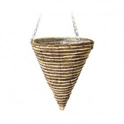 Wickerwork cone-shaped hanging flower basket - 30 cm - model FL8258