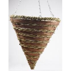 Wickerwork cone-shaped hanging flower basket - 30 cm - model FL9183