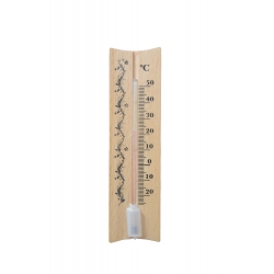 Indoor wooden light brown straight thermometer - 40x150 mm