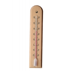 Indoor wooden light brown arched thermometer - 45 x 205 mm
