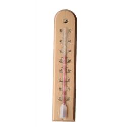 Siseruumides kasutatav puit helepruun kaarekujuline termomeeter - 45 x 205 mm -