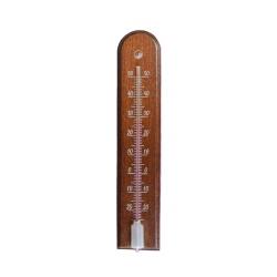 Siseruumides kasutatav puidust tumepruun kaarjas termomeeter - 4 5 x 205 mm -