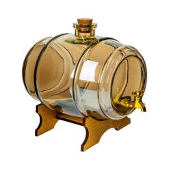 """بشکه برای لیکور و سایر ارواح - """"Zdrówko - Cheers"""" - ساخته شده از شیشه کهربا - 2 لیتر -"""