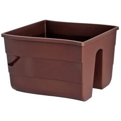Pot tanaman yang dipasang di landasan pagar - 30 cm - coklat -